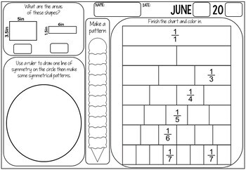 3rd Grade Math Review (No Prep) June by Miss Rainbow