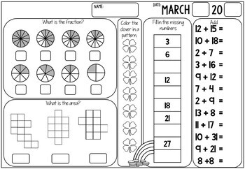 3rd Grade Math Review (No Prep) March by Miss Rainbow