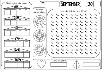 3rd Grade Math Review (No Prep) September by Miss Rainbow