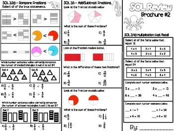 3rd Grade Math SOL Brochure #2 by Lighting Up Little Minds