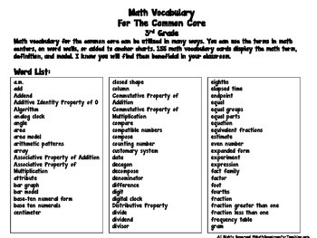 3rd Grade Math Vocabulary Aligned to CCS by Math Resources
