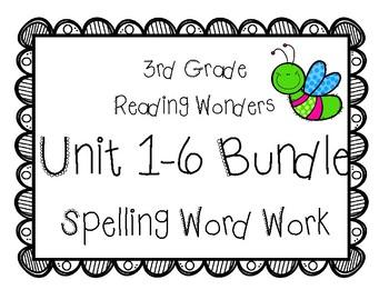 3rd Grade McGraw Hill Wonders Spelling Word Work Packets