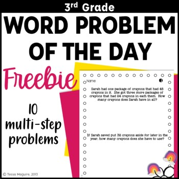 3rd Grade Problem of the Day Story Problems- Back to