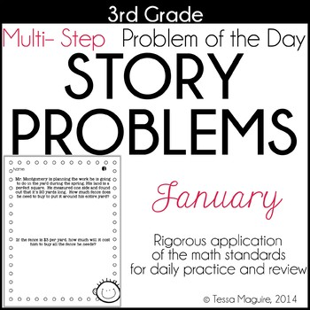 3rd Grade Problem of the Day Story Problems- January by
