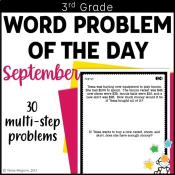 3rd Grade Problem of the Day Story Problems- September by