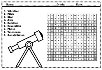 3rd Grade Science Words, Word Search Worksheets by Swati