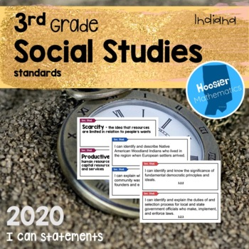 3rd Grade Social Studies I Can Statements & Vocabulary