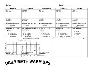 3rd Grade Spiral Review Daily Math Warm Ups (31 Pages) by