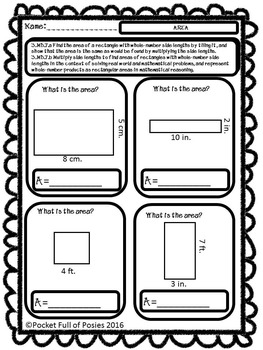 3rd grade Area and Perimeter- Common Core Standards by