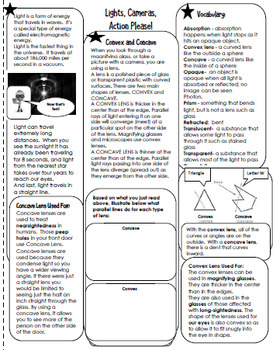 Light and Sound Interactive Science Notebook; Lessons