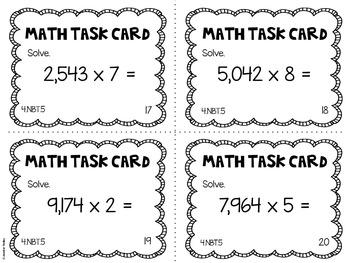 4.NBT.5 4th Grade Math Task Cards (Multiplying Whole