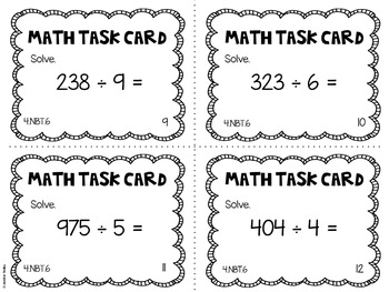 4.NBT.6 4th Grade Math Task Cards (Dividing Whole Numbers