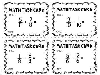 4.NF.3 4th Grade Math Task Cards (Adding and Subtracting