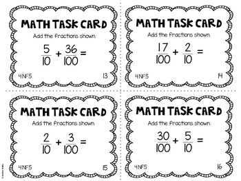4.NF.5 4th Grade Math Task Cards (Fractions with
