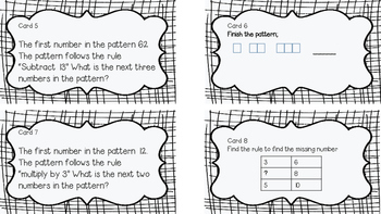 4.OA.C.5 Task Cards (Number and Shape Patterns) by MsStone