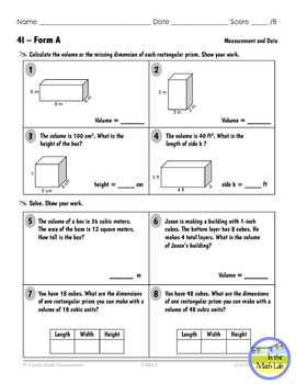 5th Grade Math Assessments for ALL Common Core Standards
