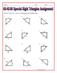 Right Triangles - 45 45 90 Special Right Triangles Notes ...