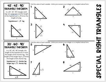 Special Right Triangles 45-45-90 and 30-60-90 Geometry