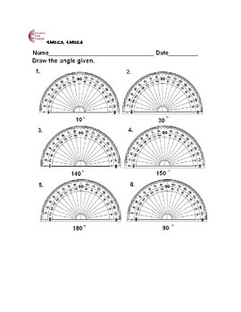 4.MD.C.5, 4.MD.C.6 Measuring Angles Using A Protractor