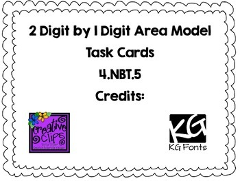 4.NBT.5- 1 Digit by 2 Digit Area Model Task Cards by