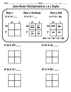 4nbt5 Area Model Multiplication Worksheet (2 By Ashley Simmons  Teachers Pay Teachers