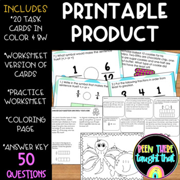 Compare and Order Fraction Task Cards, Worksheets