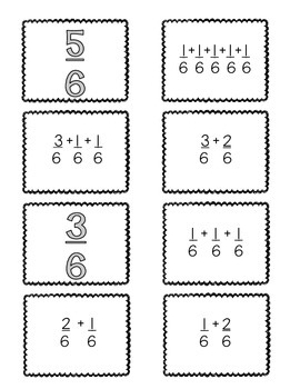 {FREEBIE} 4.NF.3:Decomposing Fractions {Matching Cards