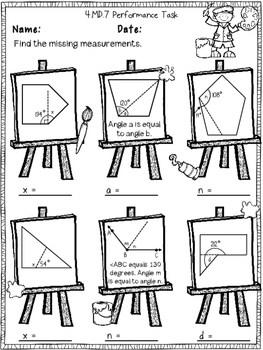 4th Grade Angles & Angle Measurement Performance Tasks 4