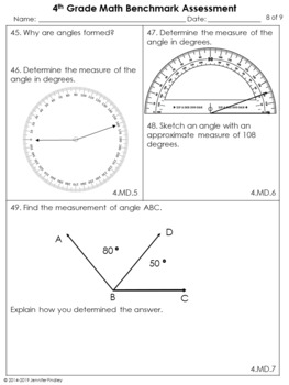 4th Grade Common Core Math Benchmark Assessment All