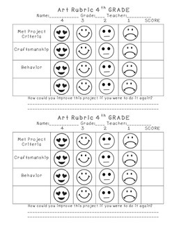 4th Grade Elementary Art Self-Assessment Rubric by Annie