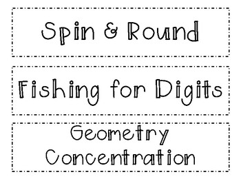 4th Grade Everyday Math Game Cards/Labels by Stephannie