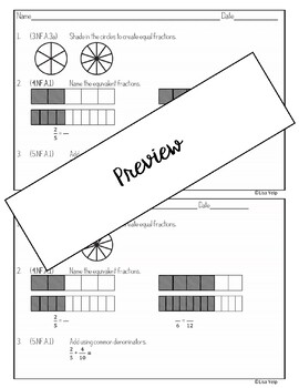 4th Grade Math Exit Slips (Tickets) NF Fractions by Lisa