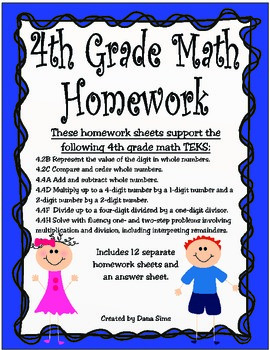 4th Grade Math Homework Staar Review Sheets By Dana Sims
