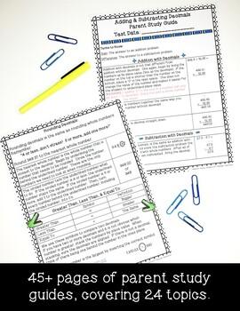 4th Grade Math Interactive Notes & Parent Study Guides