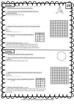 4th Grade Morning Math: Entire Year Weeks 1-36 by Joyful