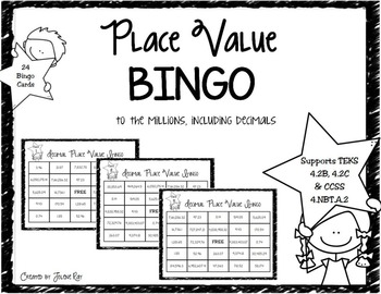 4th Grade Decimal Place Value Bingo: TEKS... by Jolene Ray