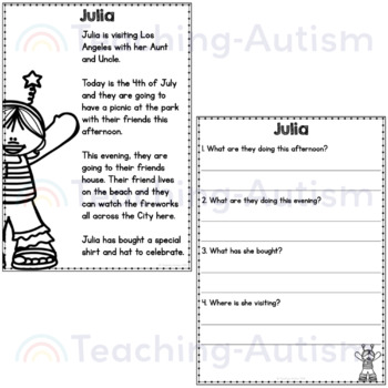 4th July Reading Comprehension Passages and Questions by