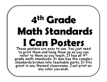 4th Math I Can Standard Posters black and white by Ms