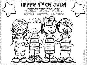 4th of July Mixed Multiplication Color-By-Number by
