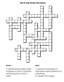 4th of July Songs Vocabulary crossword and Word Search by