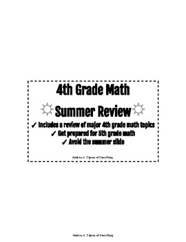 4th to 5th Grade Summer Math Review by A T Spoon of