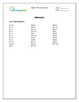 GED Math: Equation & Inequality Worksheets by Effortless