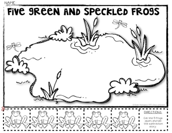 5 Green Speckled Frogs Subtraction Math Story {Decomposing