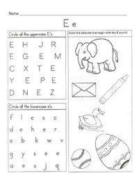 Worksheet With Letter E - Rcnschool