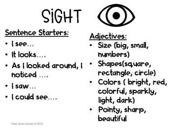 5 Senses Descriptive Writing- Sentence Starters and