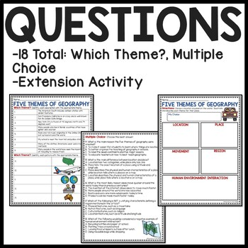 Five Themes of Geography Reading Comprehension Worksheet