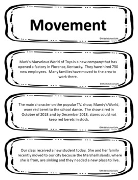 5 Themes of Geography Scenario Sort Cards by Middle School