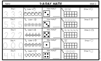 5-a-Day Math: KINDERGARTEN Math Spiral Review / 3 Weeks