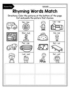CVC Rhyming Worksheets for Kindergarten, Rhyming Words