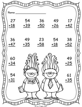 2 digit Addition with Regrouping Printables by Lori